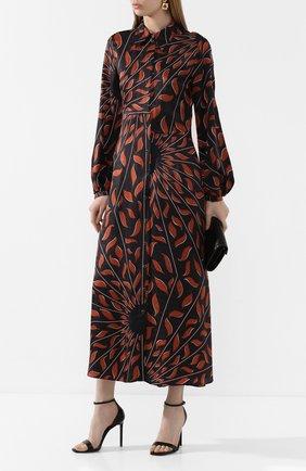 Женское платье из смеси вискозы и шелка DOROTHEE SCHUMACHER коричневого цвета, арт. 749402/GRAPHIC RAY | Фото 2
