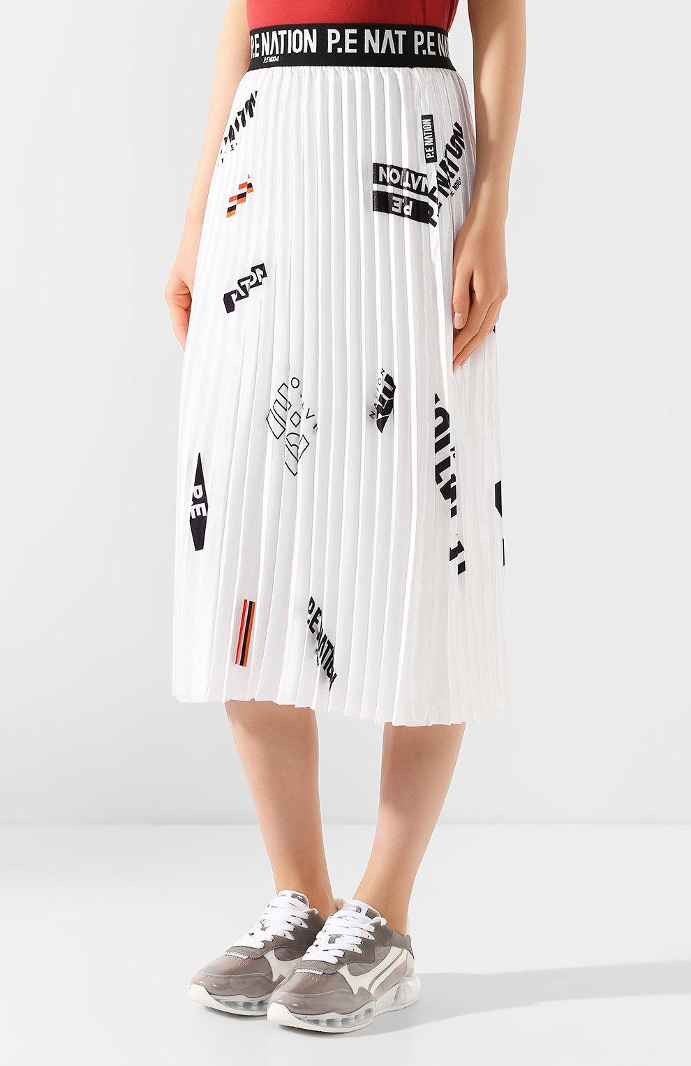 Женская плиссированная юбка P.E. NATION белого цвета, арт. 19PE4Q176-3   Фото 3 (Женское Кросс-КТ: юбка-плиссе; Материал внешний: Синтетический материал; Длина Ж (юбки, платья, шорты): Миди; Материал подклада: Синтетический материал)
