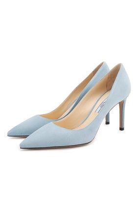 Женская замшевые туфли PRADA голубого цвета, арт. 1I834I-8-F0637-85 | Фото 1
