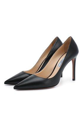 Женская кожаные туфли PRADA черного цвета, арт. 1I834I-11-F0002-100   Фото 1