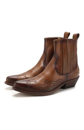 Женские кожаные ботинки santiago GOLDEN GOOSE DELUXE BRAND коричневого цвета, арт. G36WS341.B6 | Фото 1