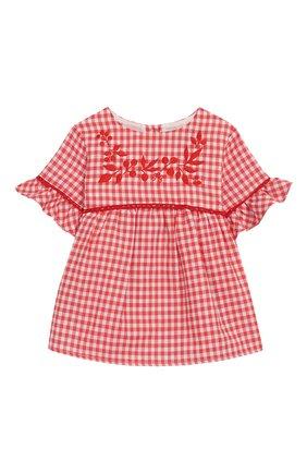 Детский хлопковая блузка TARTINE ET CHOCOLAT кораллового цвета, арт. TQ12051/18M-3A | Фото 1