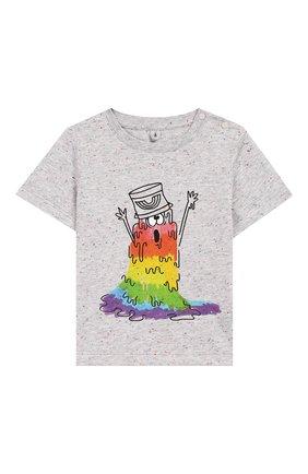Детский хлопковая футболка STELLA MCCARTNEY серого цвета, арт. 588361/S0J92 | Фото 1