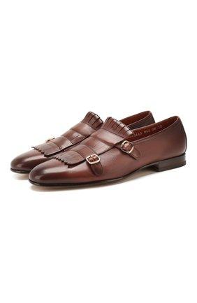 Мужские кожаные монки SANTONI коричневого цвета, арт. MCNC13663LA3SDPSM52 | Фото 1