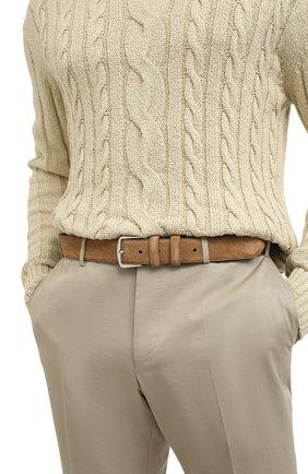 Мужской замшевый ремень LORO PIANA бежевого цвета, арт. FAA1544 | Фото 2