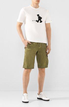 Мужские хлопковые шорты C.P. COMPANY хаки цвета, арт. 08CMBE241A-005694S | Фото 2