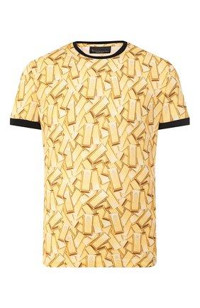 Мужская хлопковая футболка BILLIONAIRE золотого цвета, арт. I20C MTK4363 BTE014N   Фото 1