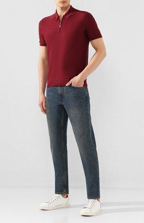 Мужское шелковое поло ANDREA CAMPAGNA бордового цвета, арт. 43135/23505   Фото 2