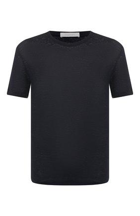 Мужская льняная футболка CRUCIANI темно-синего цвета, арт. CUJLIB.G30 | Фото 1