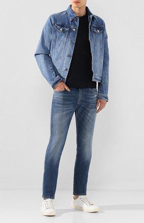 Мужская льняная футболка CRUCIANI темно-синего цвета, арт. CUJLIB.G30   Фото 2