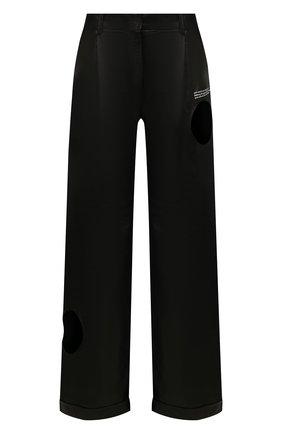 Женские кожаные брюки OFF-WHITE черного цвета, арт. 0WJB007S20LEA0011000   Фото 1
