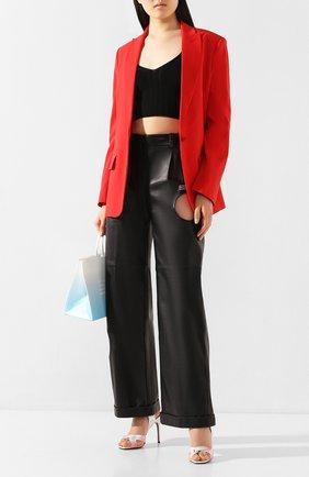 Женские кожаные брюки OFF-WHITE черного цвета, арт. 0WJB007S20LEA0011000   Фото 2