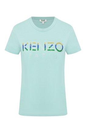 Женская хлопковая футболка KENZO бирюзового цвета, арт. FA52TS821936 | Фото 1