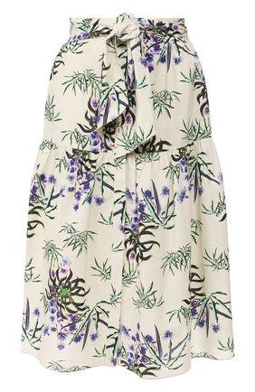 Женская юбка из смеси хлопка и льна KENZO белого цвета, арт. FA52JU13458J | Фото 1