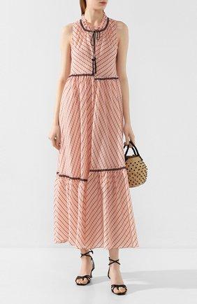 Женское платье-макси DOROTHEE SCHUMACHER розового цвета, арт. 748103/CHECKED TRANSPAR | Фото 2