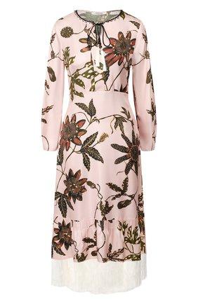 Женское шелковое платье DOROTHEE SCHUMACHER розового цвета, арт. 749602/P0WERFUL FL0RA | Фото 1