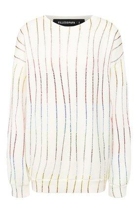 Женская хлопковый пуловер FILLES A PAPA белого цвета, арт. RAINB0W FLEECE | Фото 1