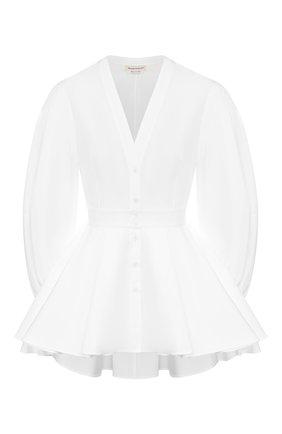 Женская хлопковая блузка ALEXANDER MCQUEEN белого цвета, арт. 620373/QAAAD | Фото 1