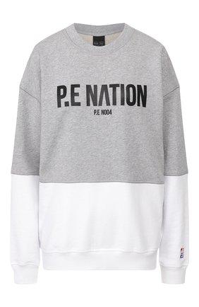 Женская хлопковый свитшот P.E. NATION серого цвета, арт. 19PE4F129-3 | Фото 1