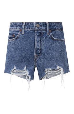 Женские джинсовые шорты GRLFRND синего цвета, арт. GF40768501348 | Фото 1 (Длина Ж (юбки, платья, шорты): Мини; Материал внешний: Хлопок; Стили: Кэжуэл; Женское Кросс-КТ: Шорты-одежда; Кросс-КТ: Деним)