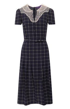 Женское шелковое платье RALPH LAUREN темно-синего цвета, арт. 290798073   Фото 1