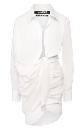 Женское хлопковое платье JACQUEMUS белого цвета, арт. 201DR30/10110 | Фото 1 (Случай: Коктейльный; Рукава: Длинные; Длина Ж (юбки, платья, шорты): Мини; Принт: Без принта; Материал внешний: Хлопок)