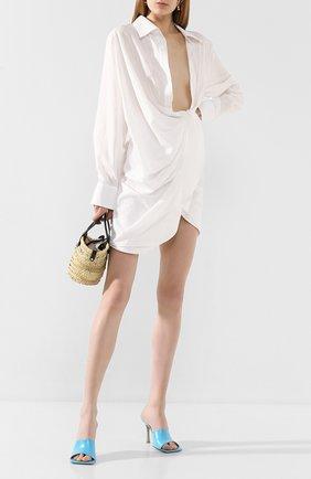 Женское хлопковое платье JACQUEMUS белого цвета, арт. 201DR30/10110 | Фото 2 (Случай: Коктейльный; Рукава: Длинные; Длина Ж (юбки, платья, шорты): Мини; Принт: Без принта; Материал внешний: Хлопок)