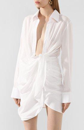 Женское хлопковое платье JACQUEMUS белого цвета, арт. 201DR30/10110 | Фото 3 (Случай: Коктейльный; Рукава: Длинные; Длина Ж (юбки, платья, шорты): Мини; Принт: Без принта; Материал внешний: Хлопок)
