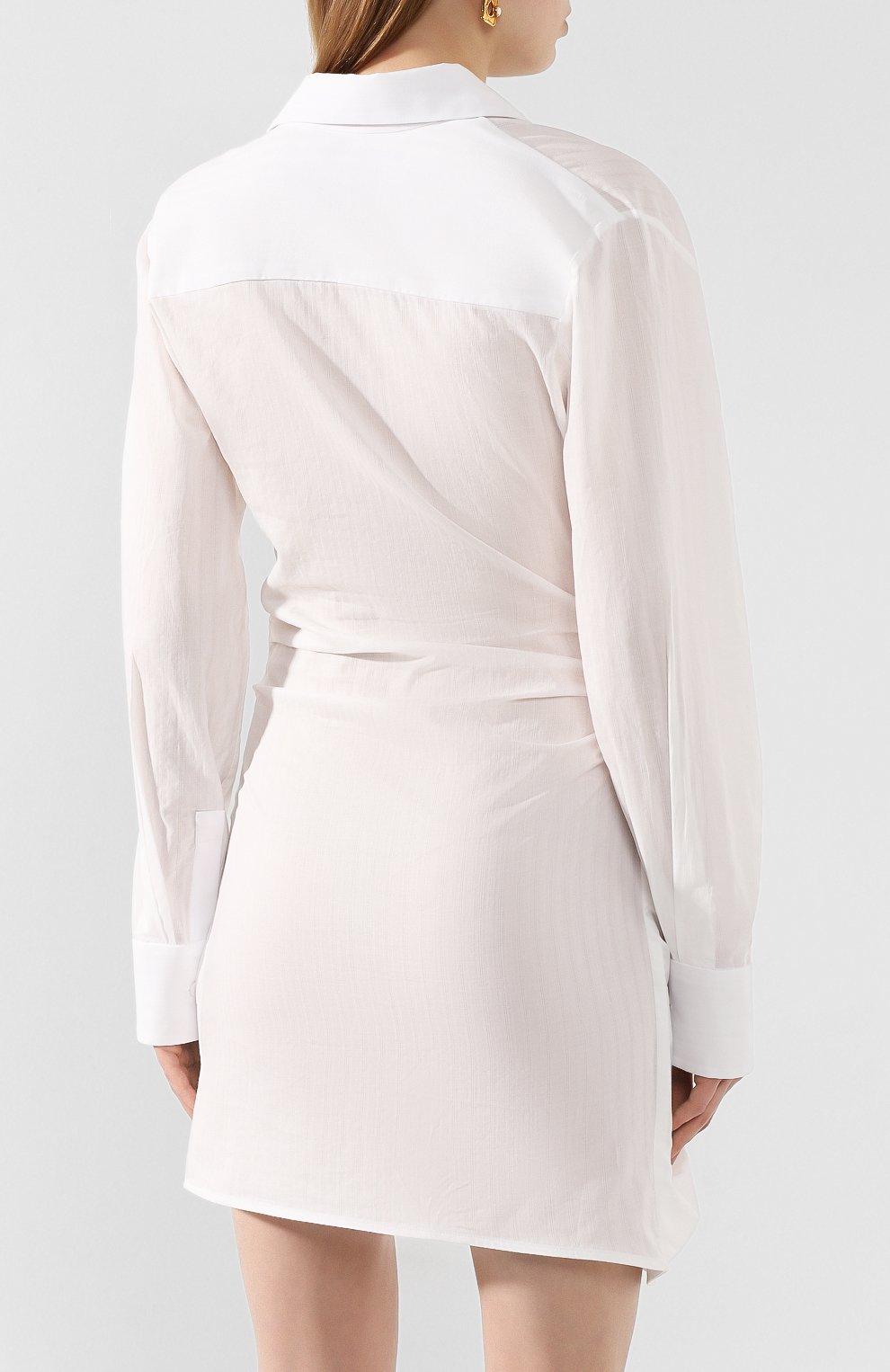 Женское хлопковое платье JACQUEMUS белого цвета, арт. 201DR30/10110 | Фото 4 (Случай: Коктейльный; Рукава: Длинные; Длина Ж (юбки, платья, шорты): Мини; Принт: Без принта; Материал внешний: Хлопок)