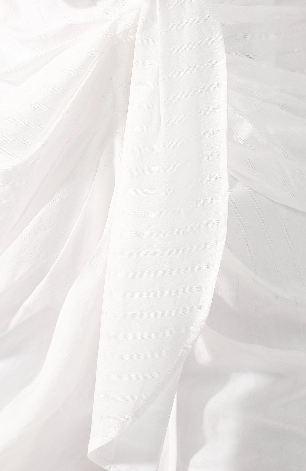 Женское хлопковое платье JACQUEMUS белого цвета, арт. 201DR30/10110 | Фото 5 (Случай: Коктейльный; Рукава: Длинные; Длина Ж (юбки, платья, шорты): Мини; Принт: Без принта; Материал внешний: Хлопок)