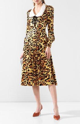 Женское шелковое платье ALESSANDRA RICH леопардового цвета, арт. FAB2000-F2730 | Фото 2