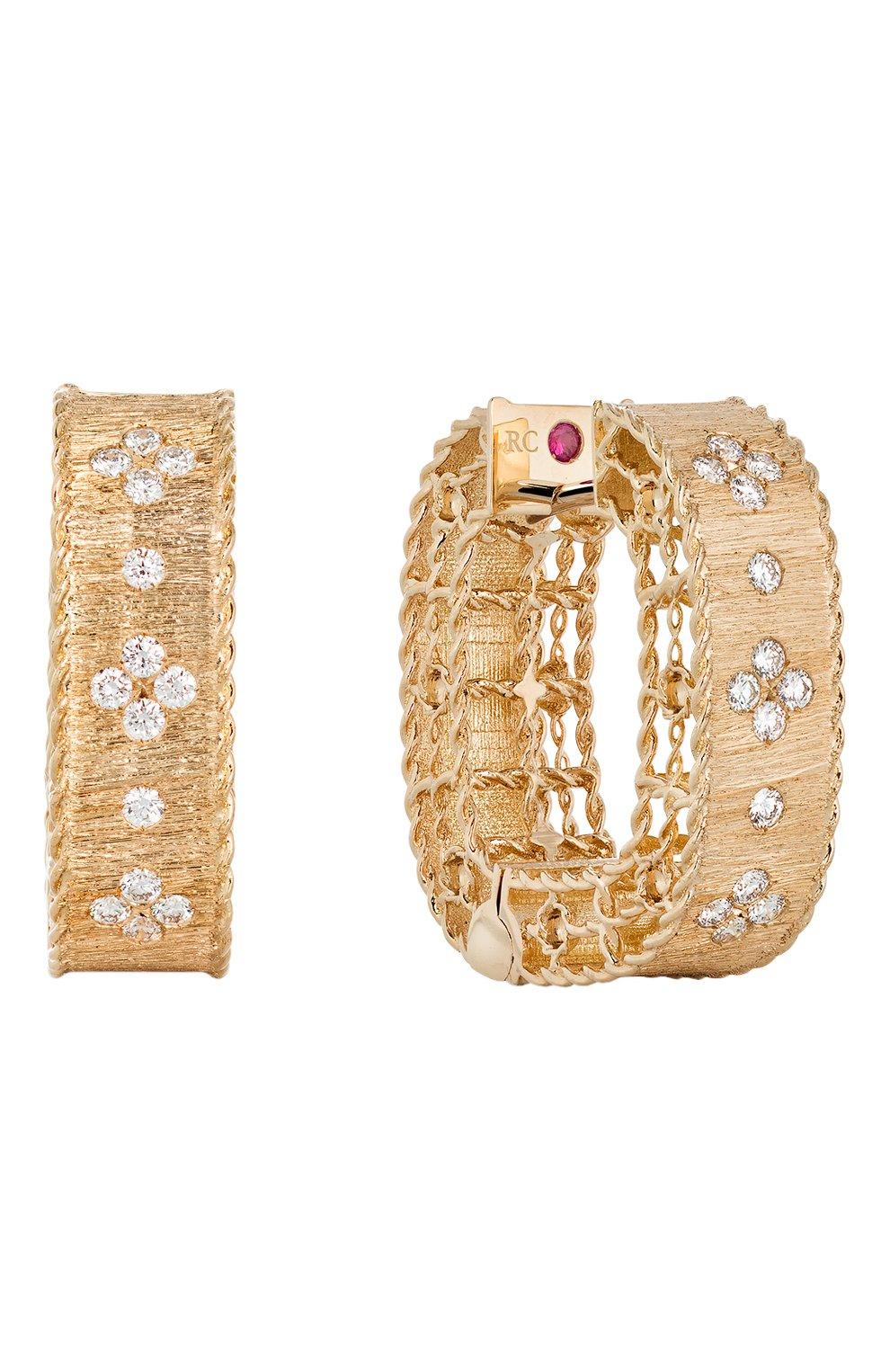 Женские серьги ROBERTO COIN бесцветного цвета, арт. ADR777EA0551 | Фото 1 (Драгоценные камни: Бриллианты; Материал сплава: Розовое золото)