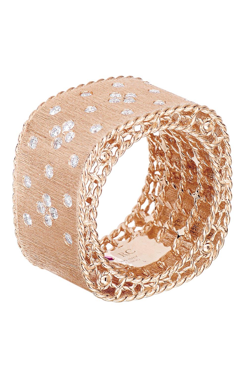 Женские кольцо ROBERTO COIN бесцветного цвета, арт. ADR777RI1295 | Фото 1 (Драгоценные камни: Бриллианты; Материал сплава: Розовое золото)