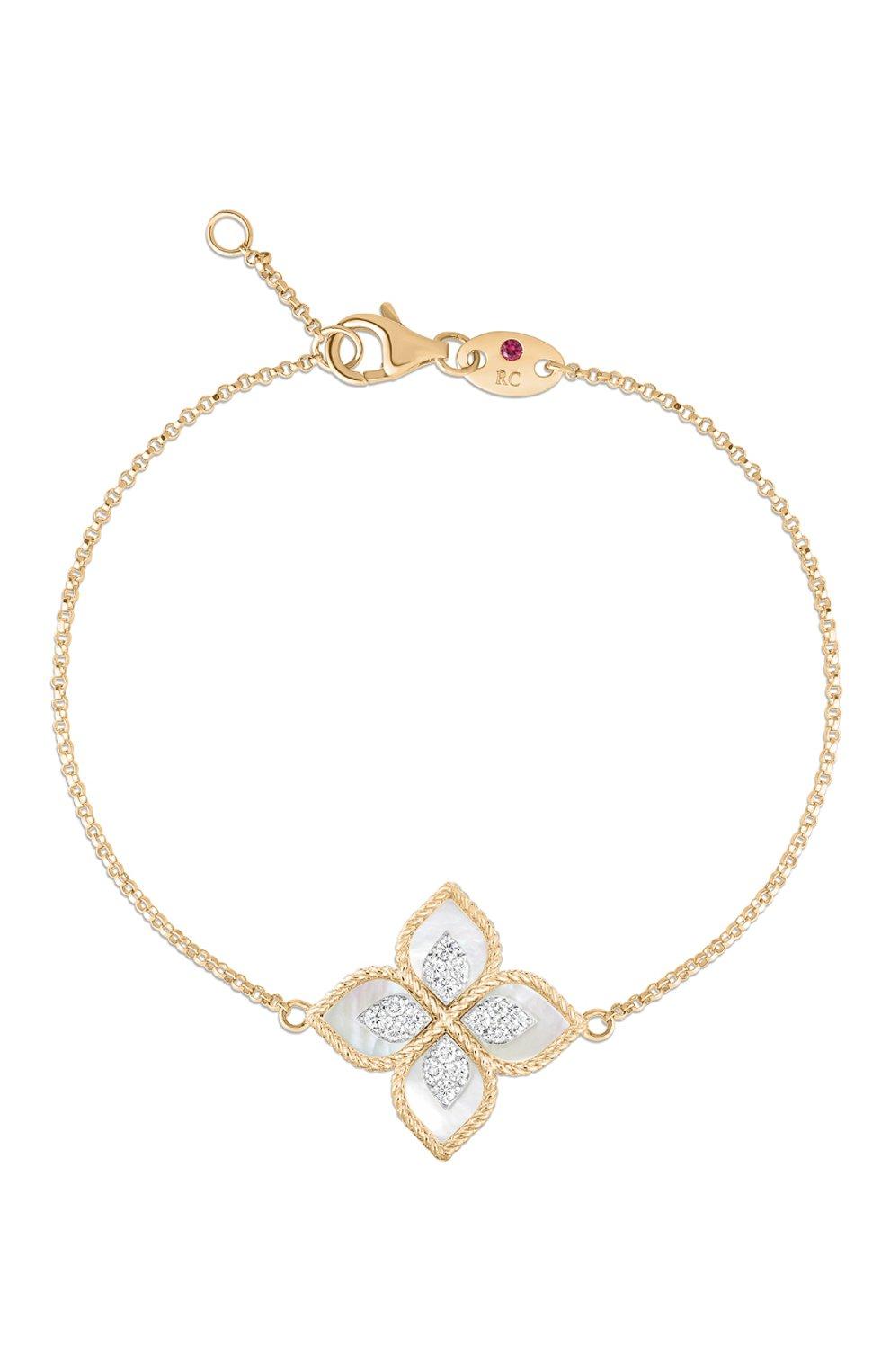 Женский браслет ROBERTO COIN бесцветного цвета, арт. ADV888BR1837_02   Фото 1 (Материал сплава: Белое золото, Розовое золото; Драгоценные камни: Бриллианты, Другие)