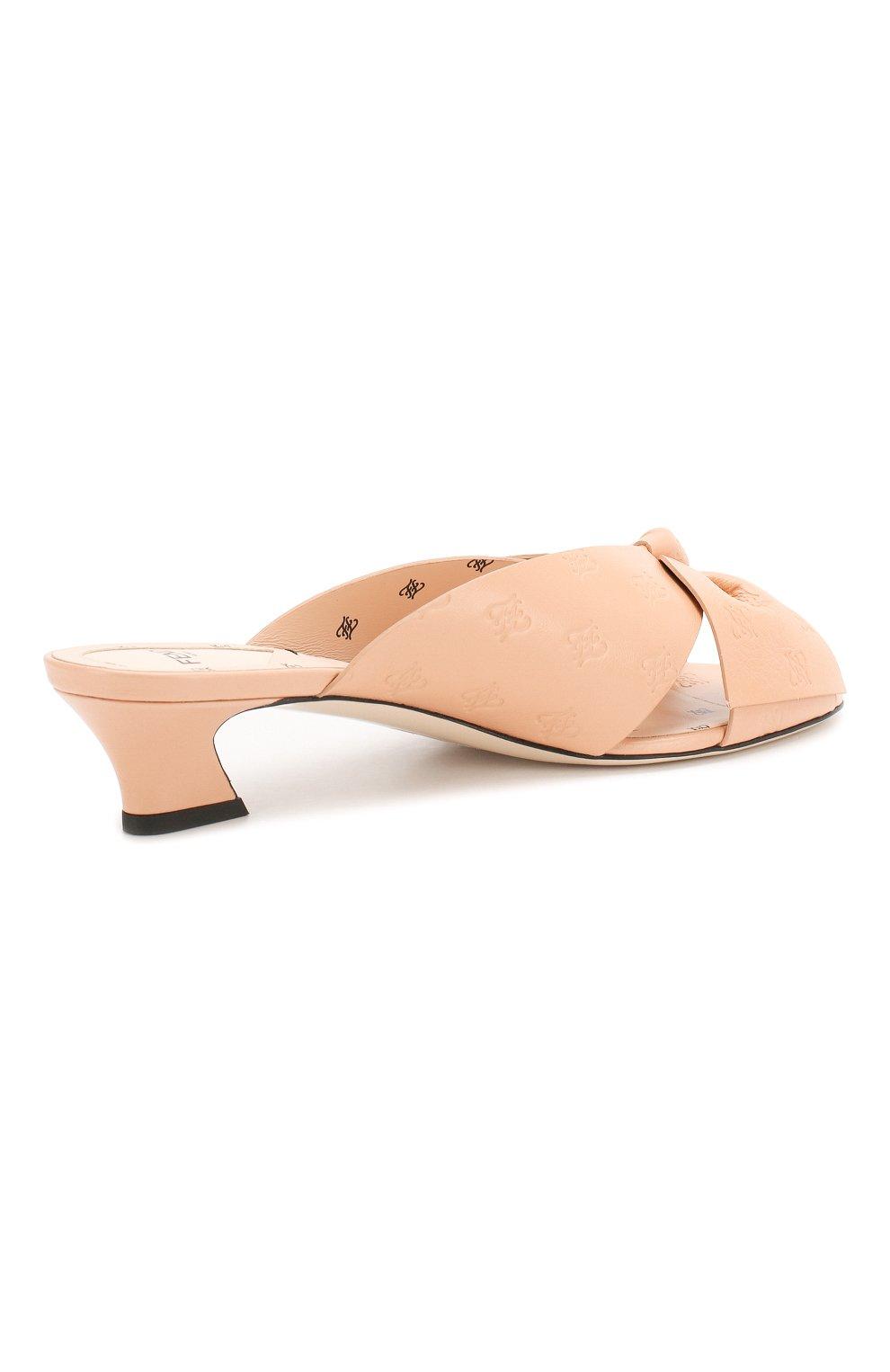 Женские кожаные мюли FENDI розового цвета, арт. 8R7030 A8U0 | Фото 4