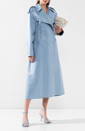 Женские кожаные босоножки BOTTEGA VENETA голубого цвета, арт. 608835/VBSF0 | Фото 2