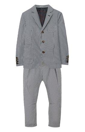Детский костюм из пиджака и брюк BRUNELLO CUCINELLI синего цвета, арт. BD487A102B | Фото 1