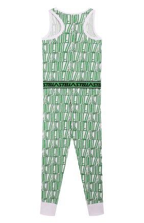 Детский хлопковый комбинезон STELLA MCCARTNEY зеленого цвета, арт. 588649/S0J69 | Фото 2