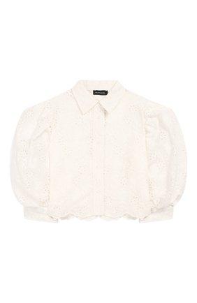 Детское хлопковая блузка JAKIOO белого цвета, арт. 495304 | Фото 1