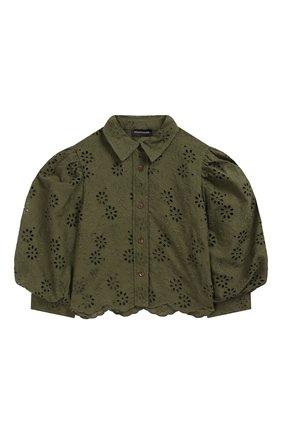 Детское хлопковая блузка JAKIOO хаки цвета, арт. 495304 | Фото 1