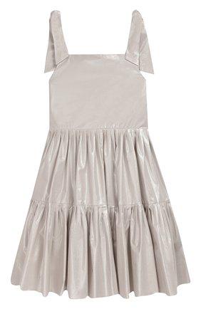 Детское платье ALEXANDER TEREKHOV серебряного цвета, арт. KIDSD157/3513.SH904/S20 | Фото 2 (Рукава: Без рукавов, Короткие; Случай: Повседневный)