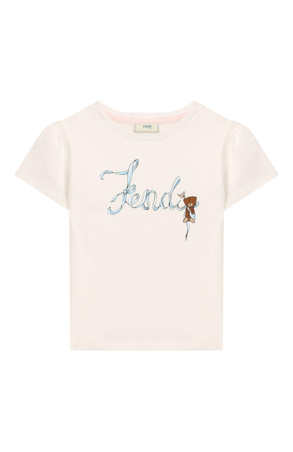 Детский хлопковая футболка FENDI белого цвета, арт. BFI111/ST8/12M-24M | Фото 1