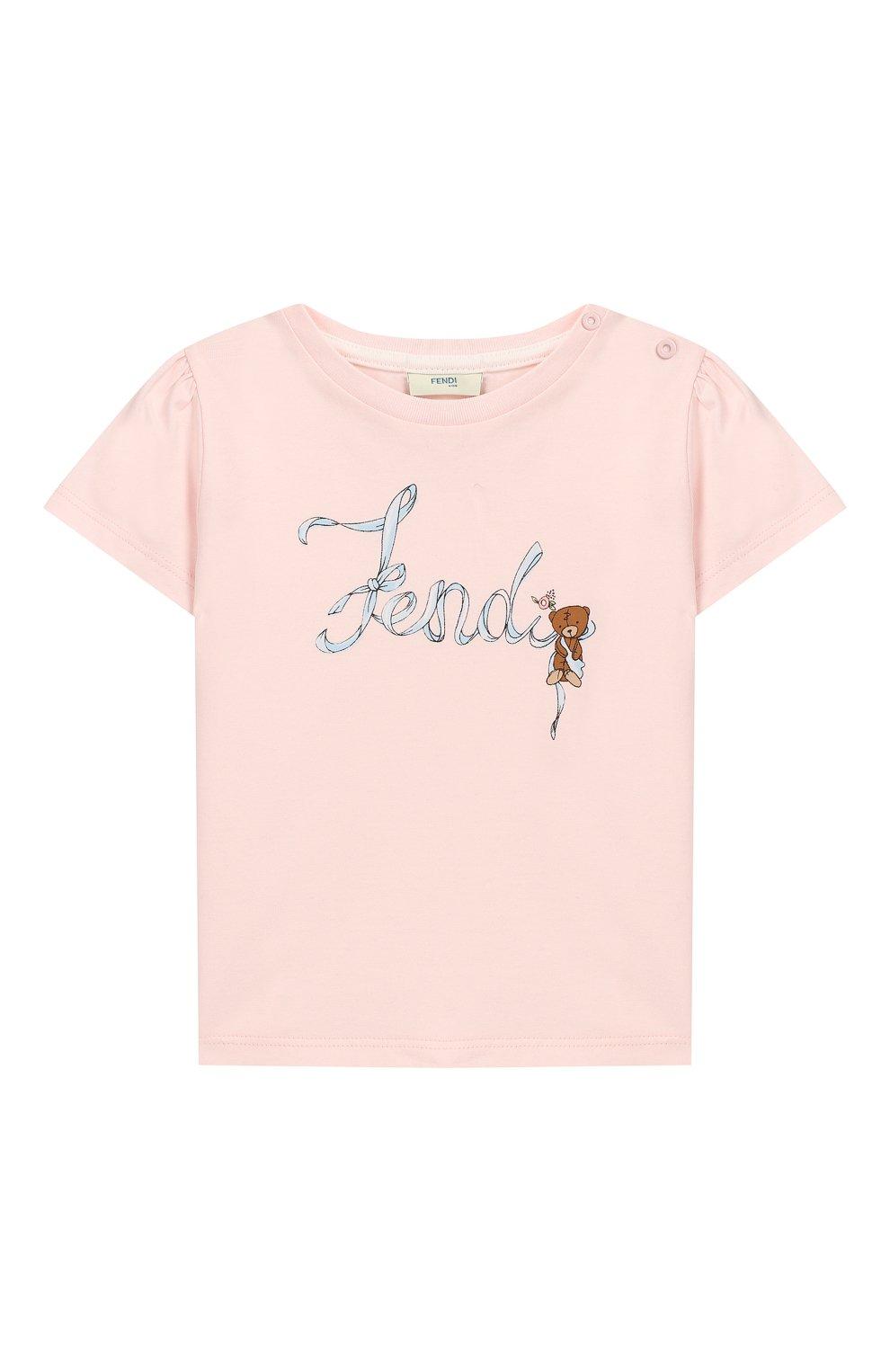 Детский хлопковая футболка FENDI розового цвета, арт. BFI111/ST8/12M-24M   Фото 1