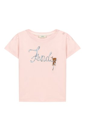 Детский хлопковая футболка FENDI розового цвета, арт. BFI111/ST8/12M-24M | Фото 1