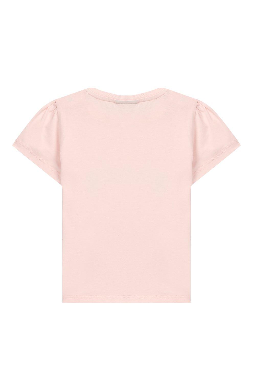 Детский хлопковая футболка FENDI розового цвета, арт. BFI111/ST8/12M-24M   Фото 2
