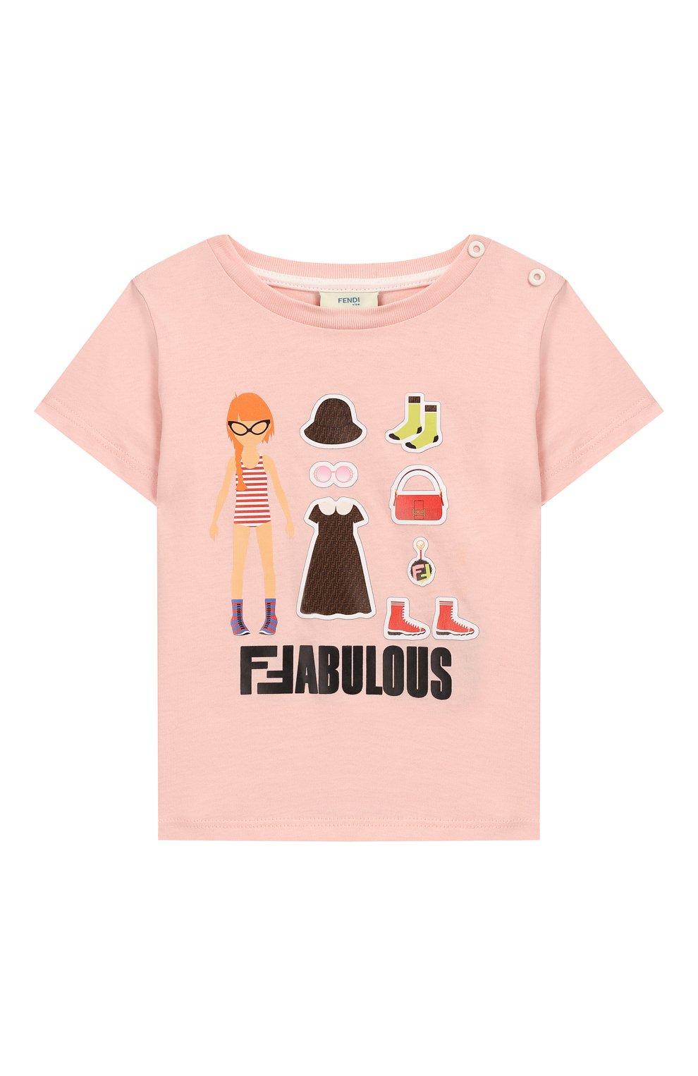 Детский хлопковая футболка FENDI светло-розового цвета, арт. BFI115/7AJ/12M-24M | Фото 1