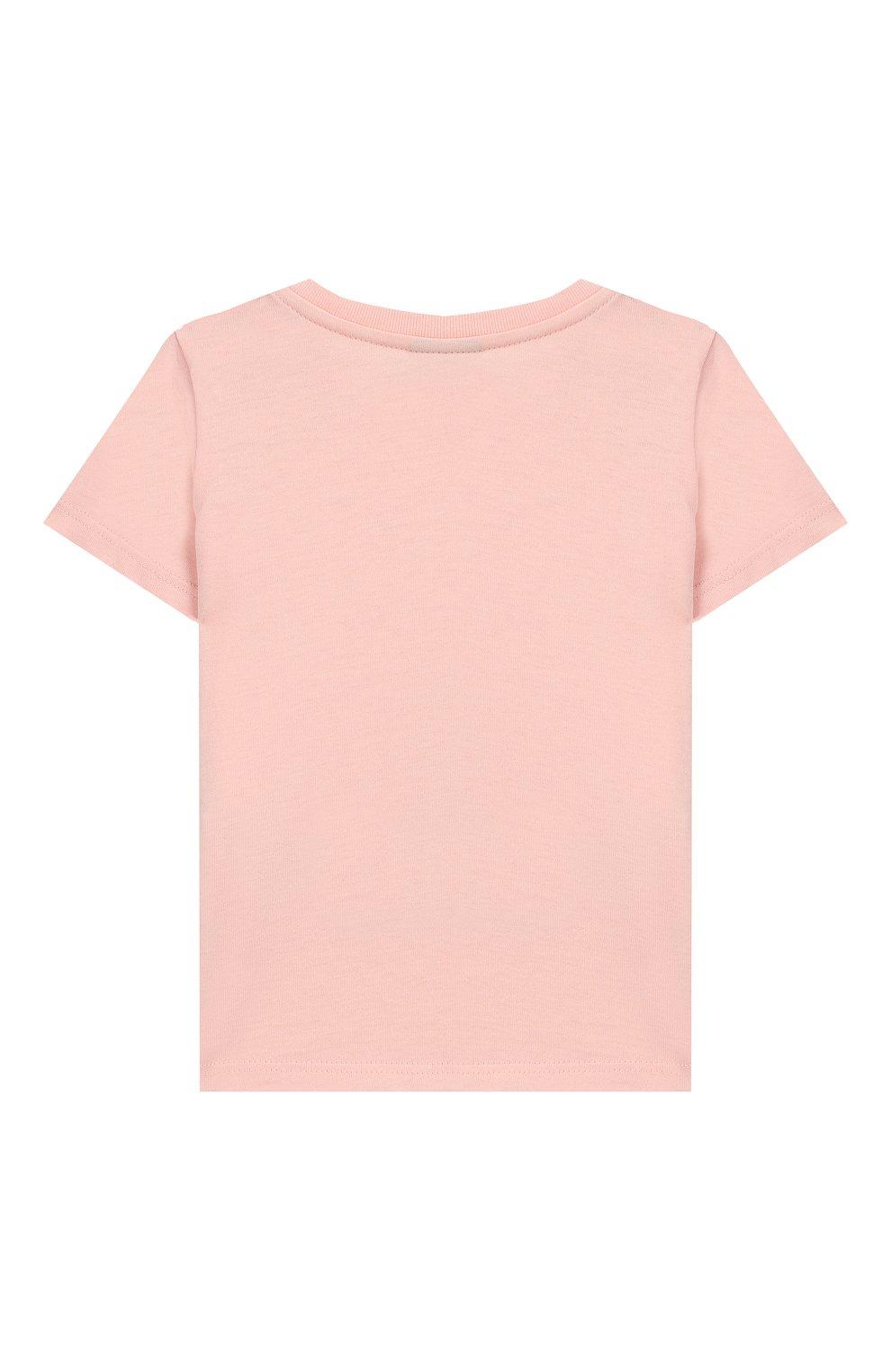 Детский хлопковая футболка FENDI светло-розового цвета, арт. BFI115/7AJ/12M-24M | Фото 2
