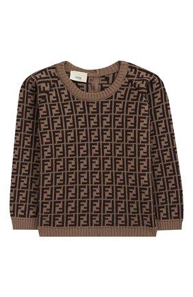 Детский хлопковый пуловер FENDI коричневого цвета, арт. BUG011/A3TE/3M-9M | Фото 1