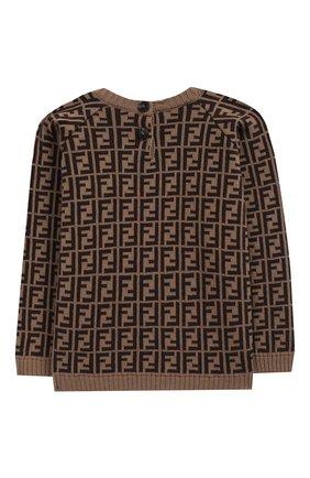 Детский хлопковый пуловер FENDI коричневого цвета, арт. BUG011/A3TE/3M-9M | Фото 2