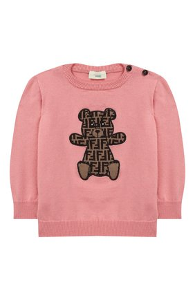 Детский хлопковый пуловер FENDI розового цвета, арт. BUG040/A3TE/12M-24M | Фото 1